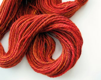 Orange handspun corriedale wool yarn - hand spun - Autumn's Splendor, yarn shop, Forever Winding Wool