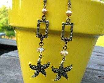 Dangling Starfish Beach Theme Earrings