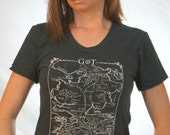 Game of Thrones Map of Westeros Tee on American Apparel Black Tri Track Tee for Women