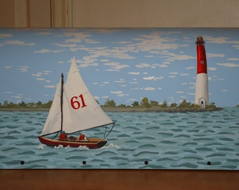 Hand Painted Lighthouse Mailbox, Sailboat Mailbox, beach decor Mailbox,  Great Fathers Day gift!