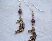 Twilight Goddess: Moon Goddess earrings with genuine Amethyst beads