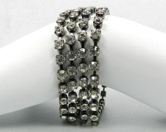 Multi Strand Tennis Bracelet, SALE, Crystal Bracelet, Black Rhinestone Cocktail Bracelet, Black and White