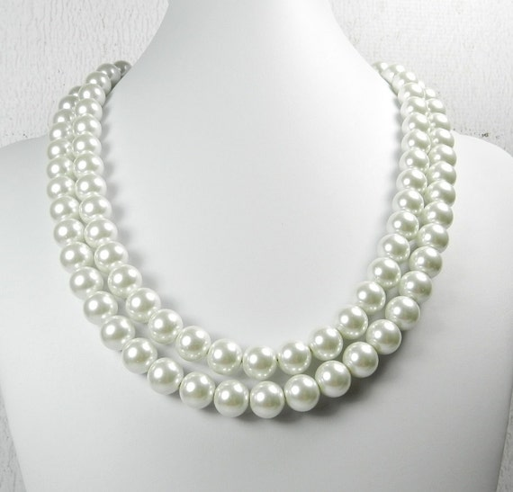 SALE : Pearl Dog Collar, Wedding Pearl Collar, Breakfast at Tiffanys Pearls, Multi Strand Pearls