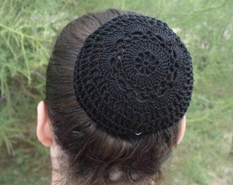 Black Hair Net Medium size Hand Crocheted in Flower Style