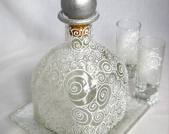 Personalized Scrolled Decanter Bottle Hand Painted Gift Set w/ Shot Glasses Base Plate ~ Optional Colors