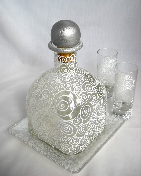 Scrolled Decanter Bottle Wedding Gift Set Shot Glasses Appetizer Base Plate Hand Painted Made To Order Custom Colors