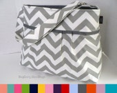 The Monterey Diaper Bag Medium - In Grey Chevron  You Choose Your  Lining Color - Adjustable Strap and Elastic Pockets