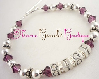 Gigi Bracelet, Grandma Gift jewelry - any name or personalization - with grandchild or children's birthstones or names