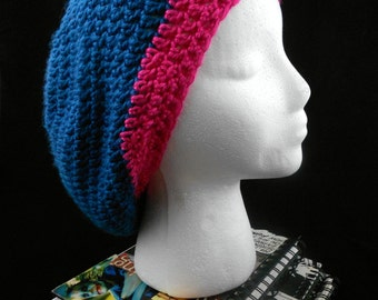 Eco Friendly Floppy Crocheted Oversized Crochet Bohemian Beret in Hot Pink and Teal