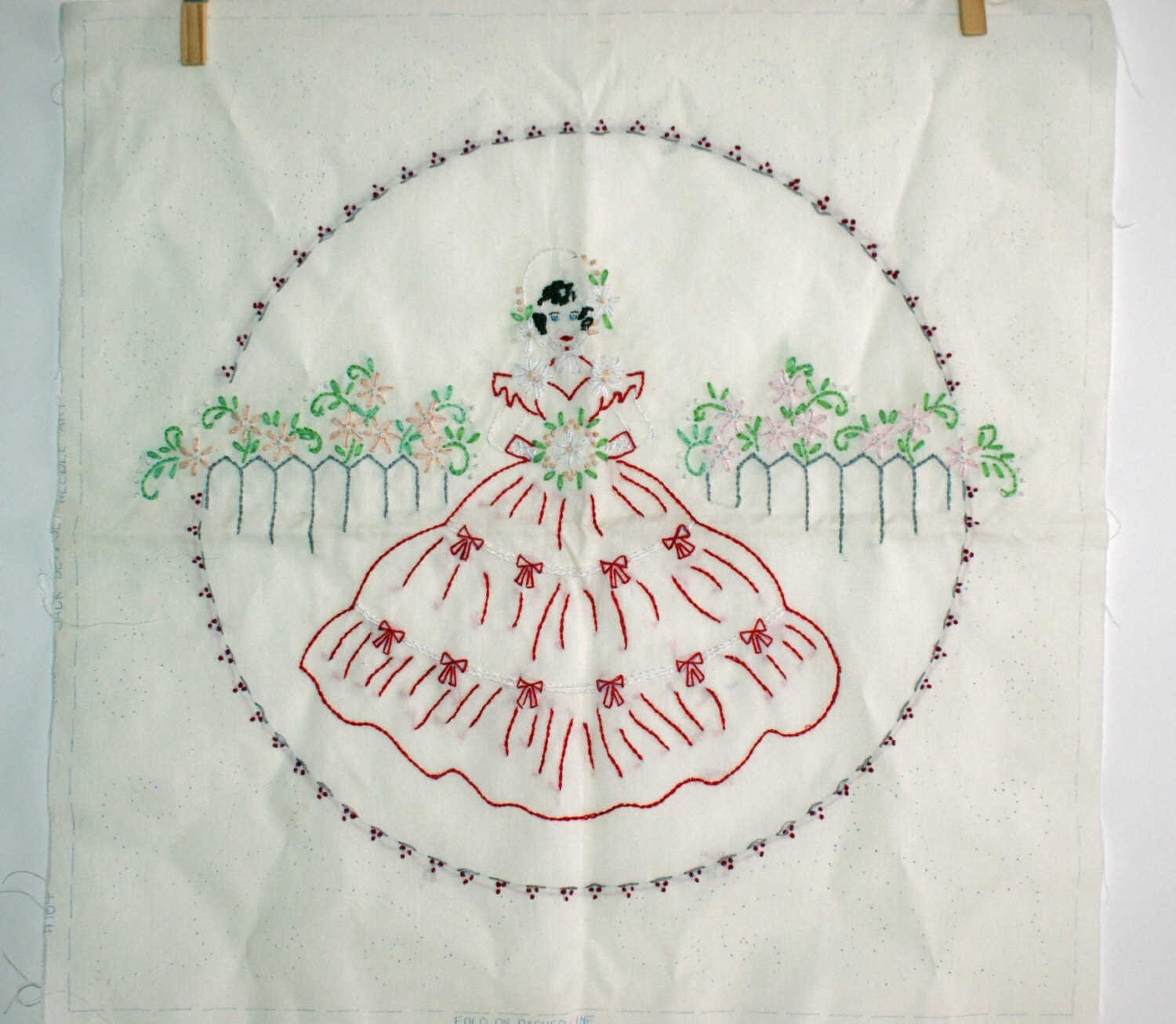 Vintage pillow top embroidered square