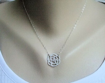 Silver Rose Necklace, Flower Necklace, Sterling Silver Chain, Gift Boxed, Everyday, Botanical Jewelry, Flower Girl Jewelry