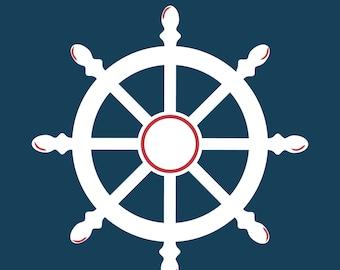 Nautical Print - Ship Wheel