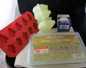 Soap Making Craft Destash Olive Oli Melt and Pour 2 Pounds 3 -D Egg Mold Tree Mold and Bake Cups
