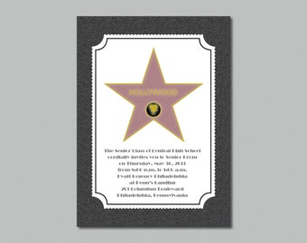 Printable - Hollywood Star - Walk of Fame - Prom Invitation
