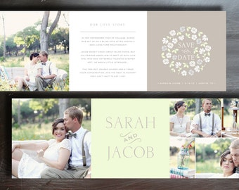 Vintage Save the Date Trifold Card Template - INSTANT DOWNLOAD - Wedding Photography Photoshop Template - Design By Bittersweet
