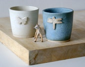 Set of two insect themed stoneware beakers - glazed in vanilla cream and smokey blue