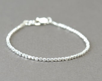 Square sterling silver beads  bracelet