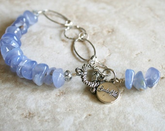 Blue stone jewelry, large chip stone, chalcedony chip, chain bracelet