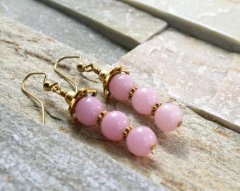 Pink jade beads, gold jewelry, pink stones, pink earringss,