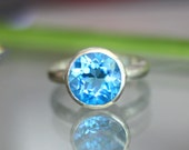 Swiss Blue Topaz Sterling Silver Ring, Gemstone Ring, In Nickel Free / No Nickel - Made To Order