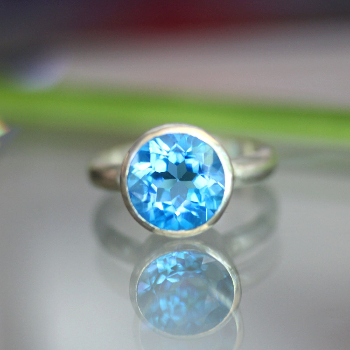 Swiss Blue Topaz Sterling Silver Ring Gemstone Ring In