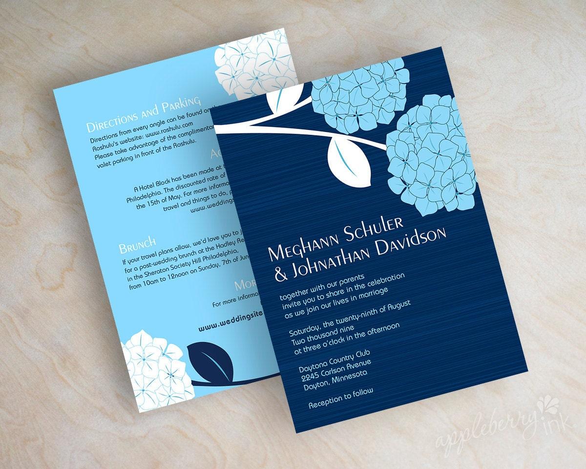 Navy Wedding Invitations: Hydrangea Wedding Invitations Navy Blue Wedding Invitations