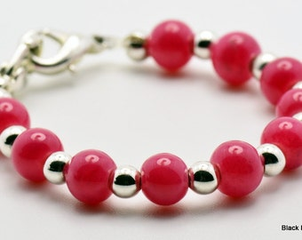 Pretty Pink Glass Stretchy Interchangeable Watch Band | Medical Id Bracelet | Bracelet Watch Band | Stretch Watch Band - XS - WB00084