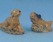 Wade Whimsies Retriever Dog and Fish Figurine