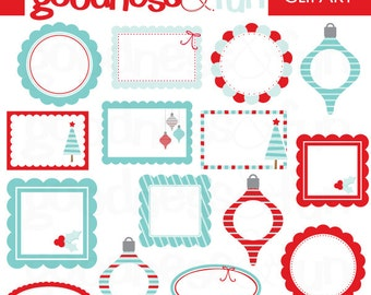 Buy 2, Get 1 FREE - Winter Wonder Frames Clipart - Digital Winter Frames Clipart - Instant Download