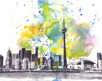 Toronto Skyline Landscape Art Print From Original Watercolor Painting Toronto Art Print Toronto Painting Skyline Art Print Poster Wall Art