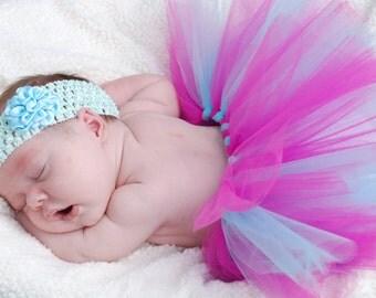 Light blue satin flower on crochet headband