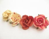 NEW - LIMITED EDITION-Handcrafted Paper Flower Lapel Pin / Boutonniere -Shades of Cinnamon & Vanilla  - you choose 1