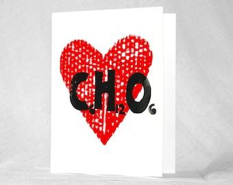 Sweet Heart Card, Science Valentine, Valentine Card for Guy, Valentine for Girlfriend, Science Geek, Christmas Card,  Glucose,