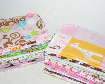 GIRLY PRINTS, Eco Friendly, Cloth Baby Wipes, Set of 24