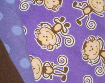 Cloth Baby Wipes, Purple Peace Monkey, Set of 24