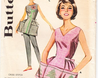 Vintage 1962 Butterick 9982 Sewing Pattern Misses' Cross-Stitched Apron Size 14-16 (Medium)