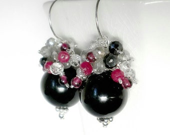 Black Onyx Earring, Black Cluster Earring, Sterling Silver Black Earrings