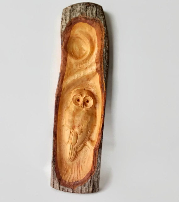 Rustic wall decor owl relief carving unique gift for fathers