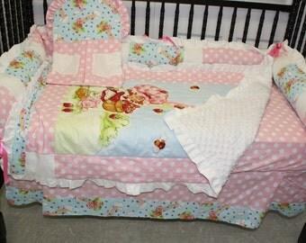 Strawberry Shortcake baby crib bedding -Free personalized pillow