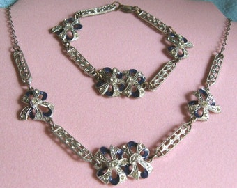 Deco Rhinestone Enamel Necklace & Bracelet Set Cobalt Bows