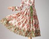 Ethnic floral print maxi dress linen dress embroidered dress (651)