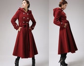 90% wool Military Red Wool Coat - Wine Crimson Hooded Winter Coat Long Lined Double-Breasted Coat (705F1)