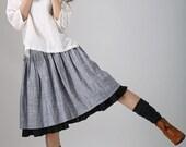 Gray midi skirt - Tea length linen skirt women skirt with black layered hem  (777)