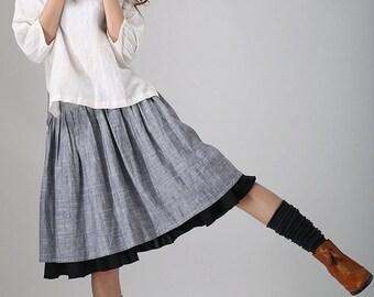 Gray midi skirt,Tea length skirt, linen skirt, women skirt, knee length skirt,pleated midi skirt, skater skirt, custom skirt, handmade (777)