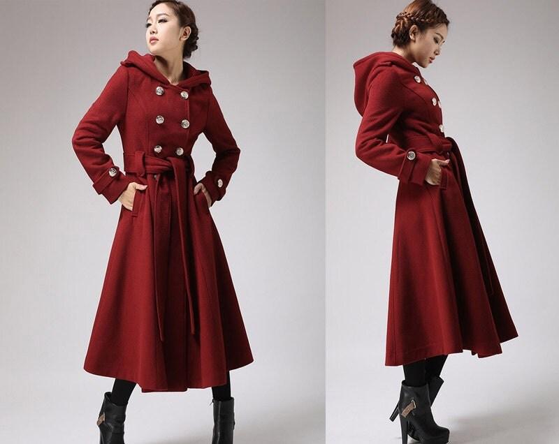 Hooded Long Wool Coat