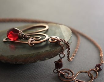 Heart copper necklace with red Czech glass teardrop on chain with a beaded decorative hook clasp - many colors available