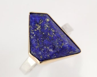 Druzy Lapis and Gold Ring- Geometric cut lapis gemstone with concave druzy texture, 14K gold and sterling silver