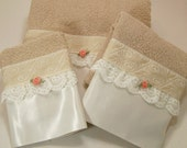 Beige Guest Bathroom Towels Hostess Coffee White Embellished Trim Lace