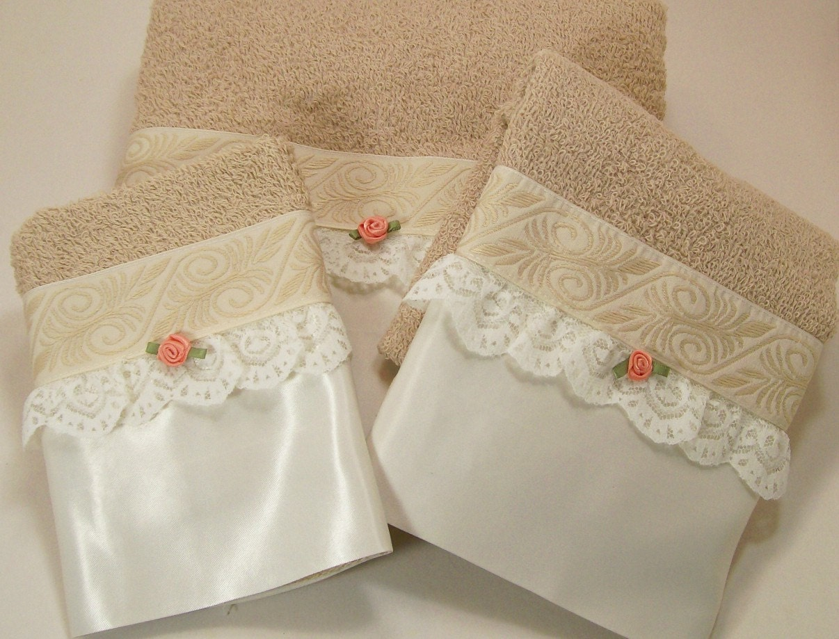 Beige Guest Bathroom Towels Hostess Coffee White Embellished
