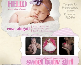 Baby Girl Birth Announcement Template • Photoshop PSD layered Templates for Photographers • INSTANT DOWNLOAD